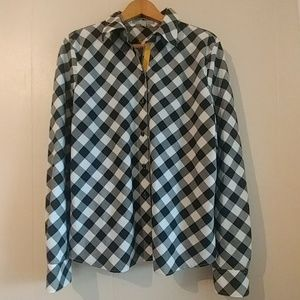 Foxcroft Black/White Plaid Wrinkle Free Button Up